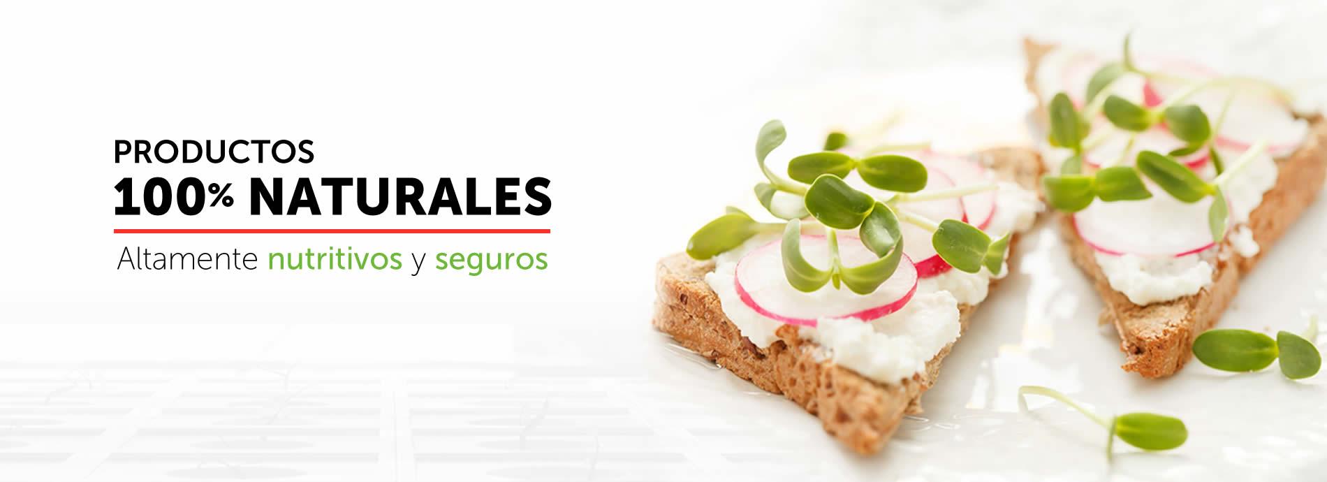 Productos 100% naturales. Altamente nutritivos y seguros.
